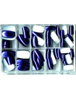 Sztuczne paznokcie metaliczne niebieskie 100szt.