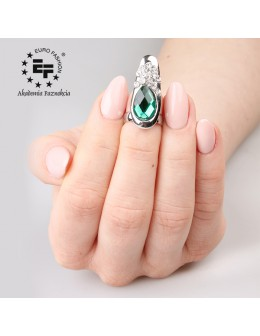 Pierścionek na paznokieć Nail Ring nr 017 - srebrny z zielonym oczkiem