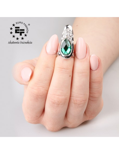 Nail Ring nr 017 - silver with green