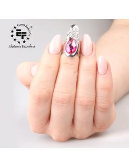 Pierścionek na paznokieć Nail Ring nr 017 - srebrny z różowym oczkiem