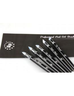 Zestaw pędzelków silikonowych do żelu EF Professional Nail Art Brush 5szt.