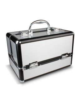 Kuferek na kosmetyki - Pink Metal Case with Dots MC015