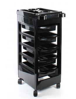 Wózek kosmetyczno-fryzjerski - czarny z szufladami