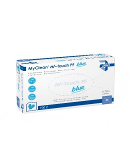 """Rękawiczki nitrylowe MyClean Ni-Touch bezpudrowe """"S"""" 100szt. - niebieskie"""