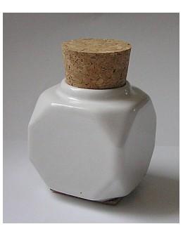 Naczynko porcelanowe z korkiem - białe