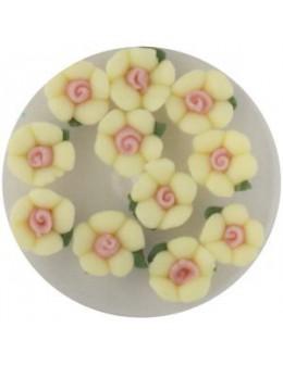 Kwiatki akrylowe 3D 10szt - żółte
