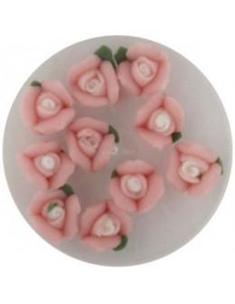 Kwiatki akrylowe 3D 10szt - różowe