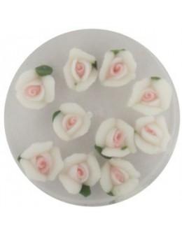 Kwiatki akrylowe 3D 10szt - białe