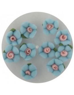 Kwiatki akrylowe 3D 10szt - niebieskie