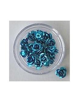 Kwiatki metalowe różyczki 20szt. - niebieskie
