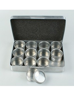 Pudełko metalowe z naczynkami na ozdoby (12 naczynek)