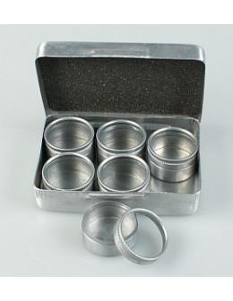 Pudełko metalowe z naczynkami na ozdoby (6 naczynek)