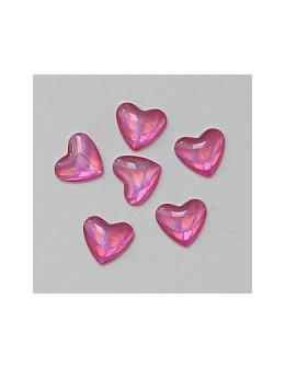 Ozdoby szklane 3D serca 20szt - różowe