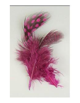 Pióro barwione 2szt - czarno-różowe