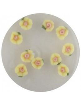 Kwiatki akrylowe 3D 10szt - żółte (małe)
