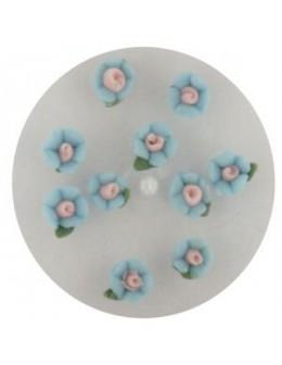 Kwiatki akrylowe 3D 10szt - niebieskie (małe)