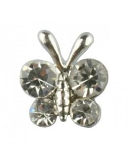 Pierścionek na stopy z cyrkoniami motylek - srebrny