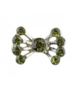 Pierścionek na stopy z cyrkoniami kokarda - zielona