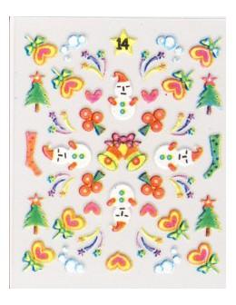 Naklejki świąteczne 3D Nail Stickers CM-14