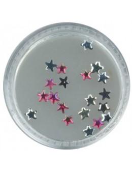 Gwiazdki szklane 20szt. - różowe opalizujące