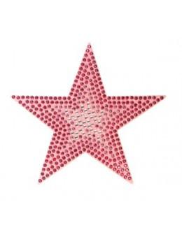 Naklejki z cyrkoniami Rhinestones Stickers - różowa gwiazdka
