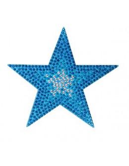 Naklejki z cyrkoniami Rhinestones Stickers - turkusowa gwiazdka