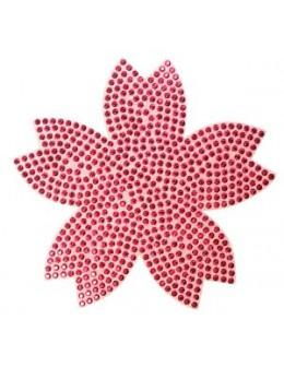 Naklejki z cyrkoniami Rhinestones Stickers - różowy kwiat