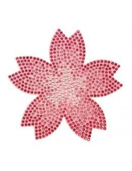 Naklejki z cyrkoniami Rhinestones Stickers - pink flower