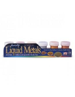Zestaw farbek Transdesign Liquid Metal 6szt. + pędzelek do zdobień GRATIS!
